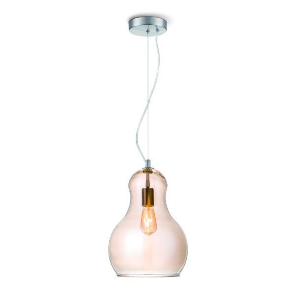 Pendellampe BELLO - 30cm amber Glas - E27 - 45cm hoch - 100cm Kabel
