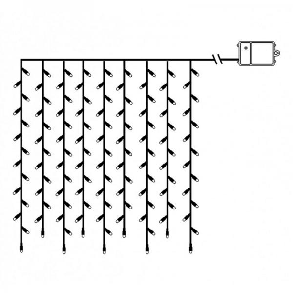 LED-Lichtervorhang - Dura Line Outdoor - Batteriebetrieb - Timer - 1,10 x 1,00m - 120x Warmweiß - Transparent
