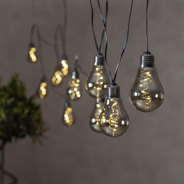 """LED Party Lichterkette """"Glow"""" - 10x 5 neutralweiße LED Glühbirnen - L: 3,6m - Indoor - rauchig grau"""