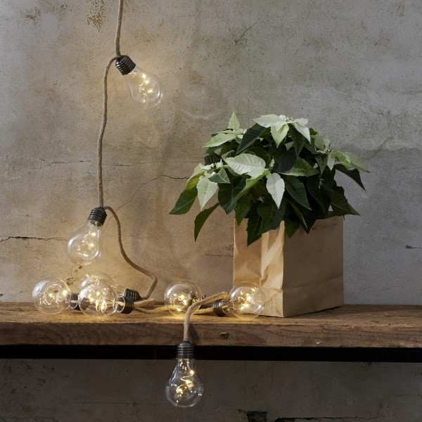 "LED Lichterkette ""Jutta"" - 10 Glühbirnen mit je 3 LED - L: 225cm - Batteriebetrieb - transparent"