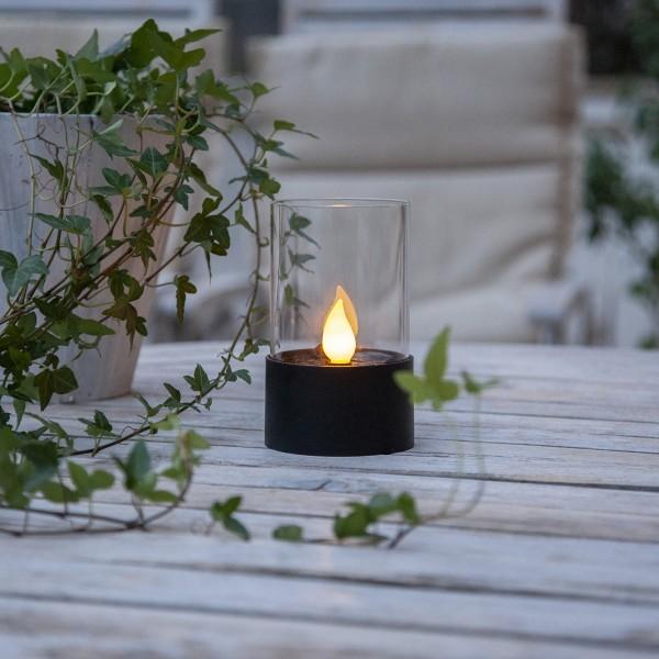 LED Solar Windlicht - warmweiße Flamme - H: 14cm - D: 8,5cm - Dämmerungssensor