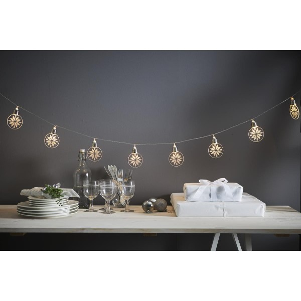 "LED Lichterkette ""Ornament"" - 10 warmweiße LED - Batteriebetrieb - Timer - L: 1,8m - transparent"