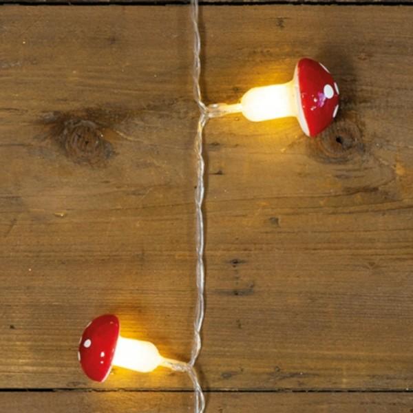 LED Lichterkette Fliegenpilz - 10 warmweiße LED - Kunststoff - L: 0,9m - Batteriebetrieb - rot/weiß