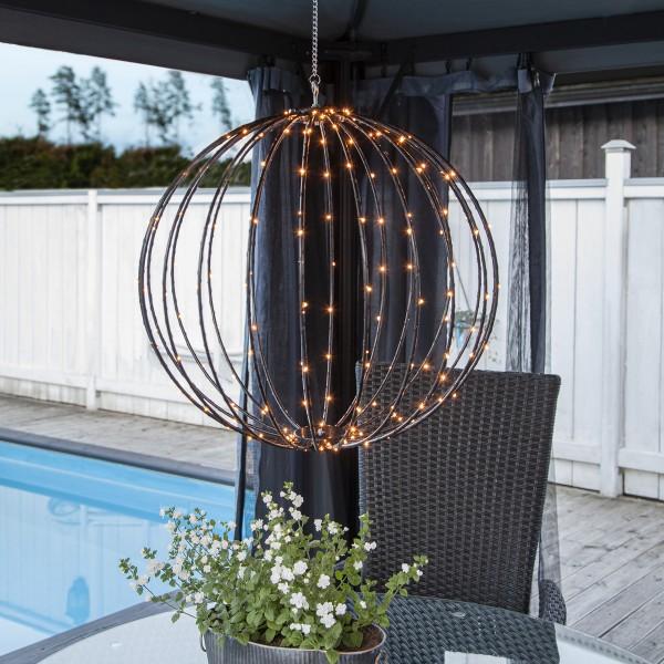 "LED 3D Designkugel ""Mounty"" - D: 50cm - 198 warmweiße LED - 8 Funktionen - faltbar - schwarz"