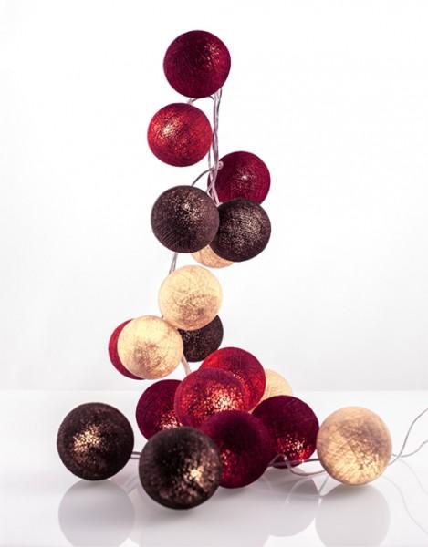 good moods* WALDBEERE - Ball-Lichterkette mit 35 Stoffkugeln - 35 warmweiße LEDs - Geschenkkarton