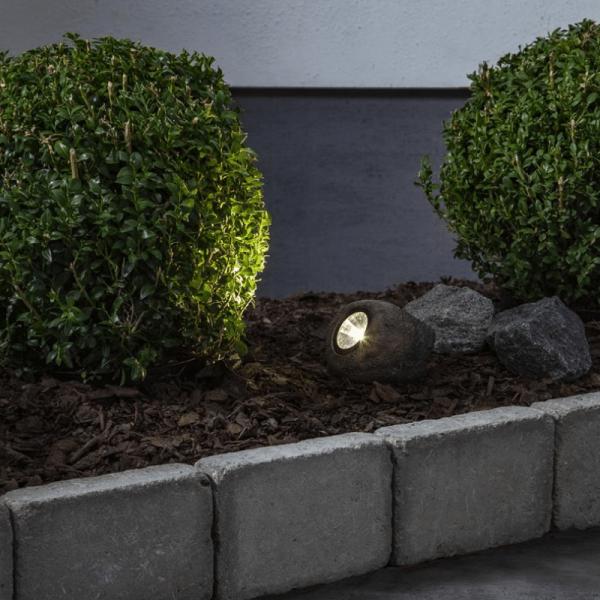 "LED Solar Felsen ""Rocky"" - Spot mit warmweißer LED - Dämmerungssensor - 15lm - H: 8cm"