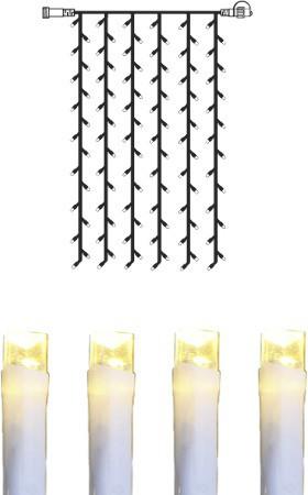 System DECOR | LED Lichtervorhang | koppelbar | 1x1,5m | weißes Kabel | 84 warmweiße LEDs