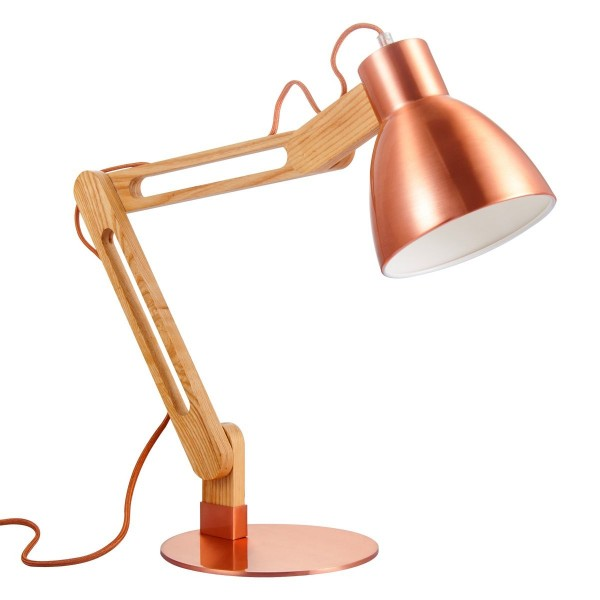 Schreibtischlampe WOOD Holz/kupfer - 70cm - E27 - Nachttischlampe