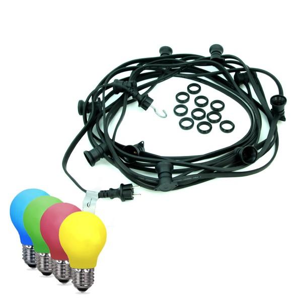 ILLU-Lichterkette BLACKY - 50m - 50xE27 | IP44 | bunte LED Tropfenlampen | SATISFIRE