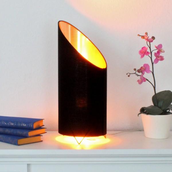 LED Flammenleuchte - Dekoleuchte - VINE schwarz/gold - realistische Fackelfunktion - H: 43cm D:18cm