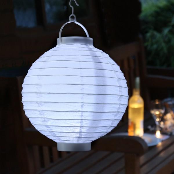 LED Lampion FESTIVAL - kaltweiße LED - D: 20cm - Montagehaken - weiß