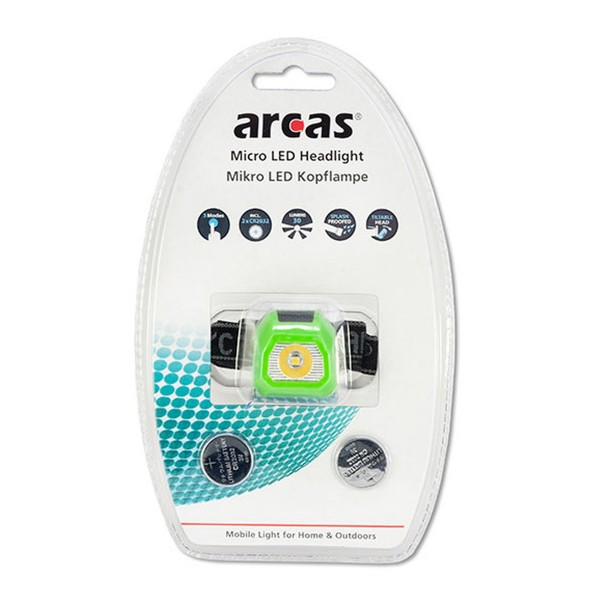 LED Kopflampe / Stirnlampe ARCAS MIKRO SMS- inkl. Batterien