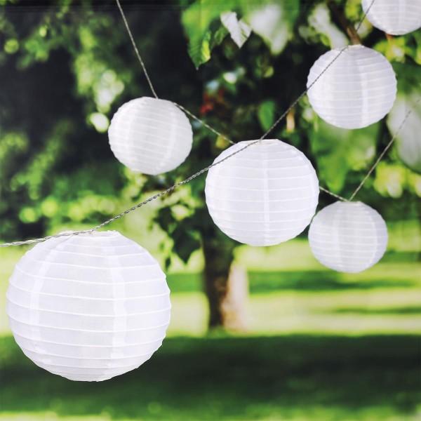 """LED Lichterkette """"Lampion"""" - 25 XXL Lampions mit warmweißer LED - outdoor - weiß"""
