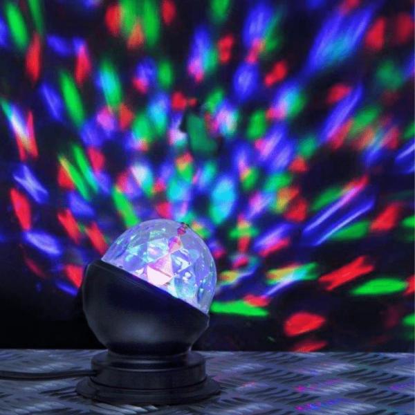 Partylampe - Discolampe - Lichteffekt - bunte Punkte an Decke und Wand - farbiger LED Lichteffekt mit Motor