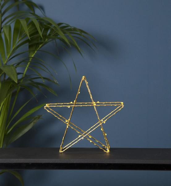 "LED-Metallstern ""Super"" - 30 warmweiße LEDs - stehend - D: 25cm - Batteriebetrieb - Timer - gold"
