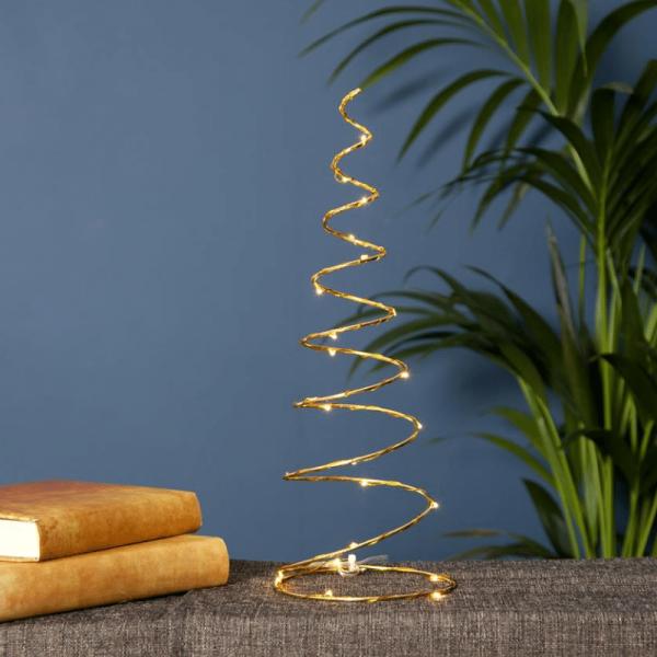 "LED-Dekoleuchte ""Dizzy"" - 25 warmweiße LED - messingfarben - Material: Metall - H: 40cm, B: 15cm"