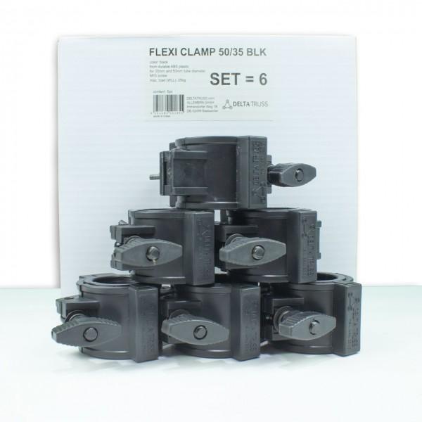 FLEXI CLAMP Set schwarz (6 Stück) - Kunststoff-Klammer f. Traversen, Half-Coupler 50/35mm