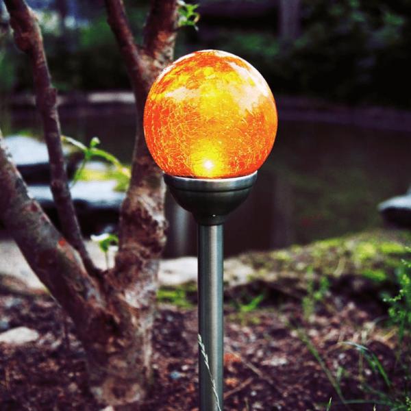 LED Solarkugel mit Bruchglas Optik - Gartenleuchte - H: 45cm - Dämmerungssensor - amber