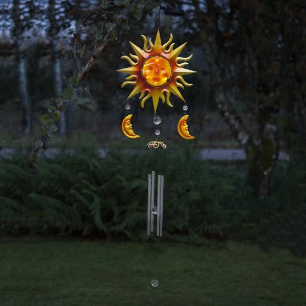 "LED Solar Windspiel ""Sonne""- rot/gelb - weiße LED - H: 95cm, D: 29cm - Dämmerungssensor"