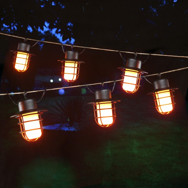 LED Solar Lichterkette INDUSTRY - Laterne mit Ambiente Feuereffekt - 10 flackernde LED - L: 2m