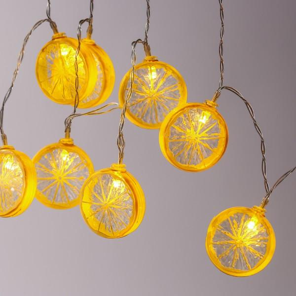 LED Lichterkette ZITRONE - 10 Zitronenscheiben - warmweiße LED - Batteriebetrieb - L: 90cm - gelb