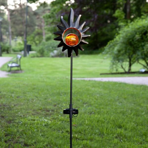 "LED Solarstab ""Sonne""- schwarz - amber LED - Glaskugel im Kopf - H: 84cm - Dämmerungssensor"