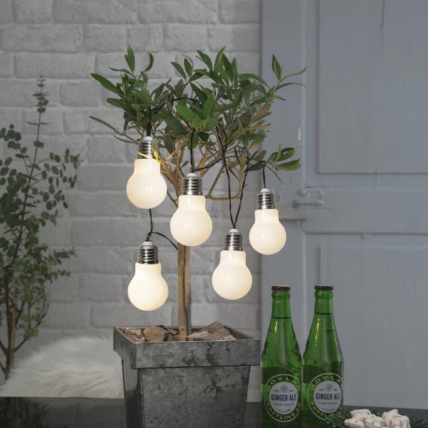 """LED Party Lichterkette """"Glow"""" - 5 Birnen á 2 warmweiße LED - L: 1m - Timer - outdoor - weiß"""