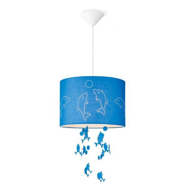 Lampenschirm DELFIN - blau - 30cm Durchmesser - mit fliegenden Delfinen