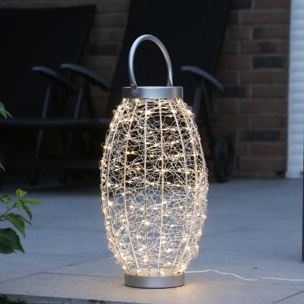 LED 3D Laterne - Drahtleuchte - H: 40cm - 150 warmweiße LED - outdoor - silberner Draht