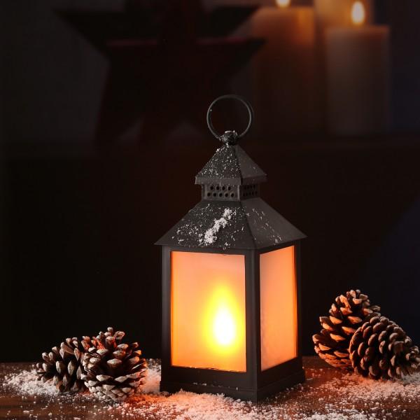LED Laterne - mit Flammeneffekt - flackernde LED - H: 24cm - Batteriebetrieb - schwarz