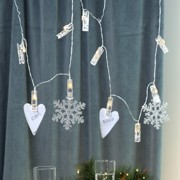 LED Clip Lichterkette - 10 Wäscheklammern für Fotos - warmweiße LED - 1,35m - Batterie - transparent