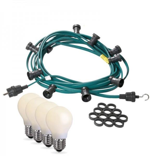 Illu-/Partylichterkette 40m | Außenlichterkette | Made in Germany | 60 x bruchfeste, opale LED Lampen