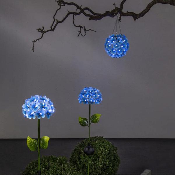 """LED Solar Hängedeko """"Hortensie"""" - mit Aufhänger - 44 kaltweiße LED - D: 16cm - Lichtsensor - blau"""