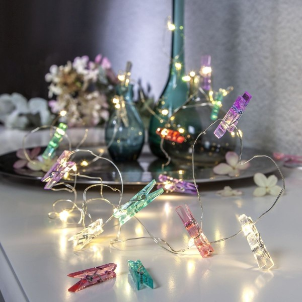 LED Clip Lichterkette - 16 bunte Wäscheklammern - 30 warmweiße LED - 2,9m - Batterie - Timer