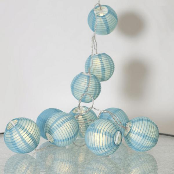 "LED Lichterkette ""Festival"" - 10 blaue Lampions - warmweiße LED - 1,35m - inkl Trafo"