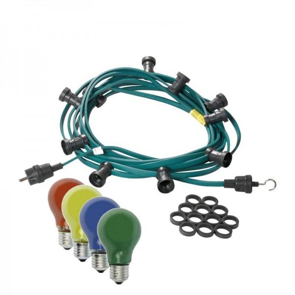 Illu-/Partylichterkette | E27-Fassungen | Made in Germany | mit farbigen Glühlampen | 5m | 5x E27-Fassungen