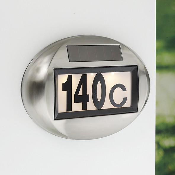"""Solar Hausnummer Edelstahl """"MEDINA"""" - inkl Buchstaben und Zahlen - warmweiße LEDs - 27,5x20x5cm"""