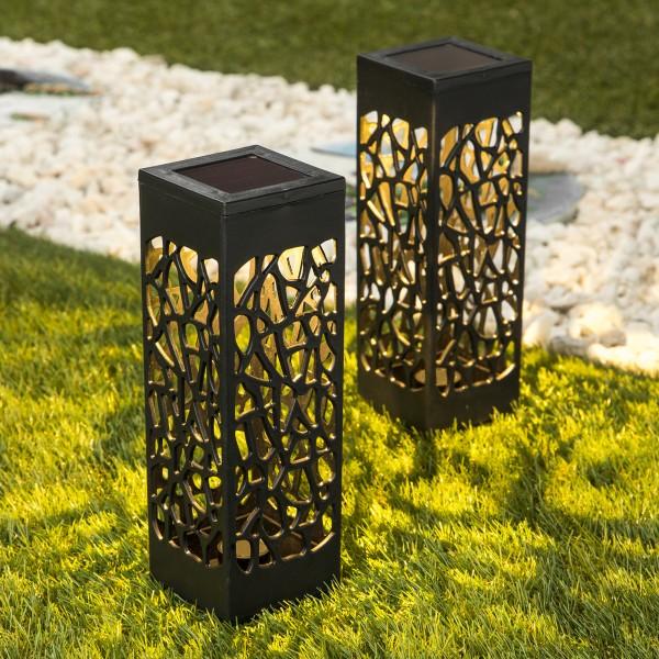 LED Solar Wegleuchte - warmweiße LED - H: 28cm - Lichtsensor - schwarz - 2er Set