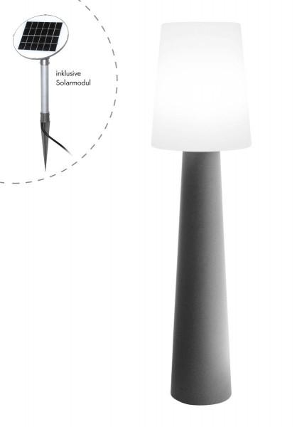 """Outdoor XL Stehlampe No. 1 """"Grau"""" H:160cm - Solar LED warmweiß - Außenleuchte IP44"""