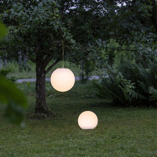 """LED Solar Gartenkugel """"Globy"""" - Erdspieß - H: 23cm, D: 25cm - 2 warmweiße LED - Dämmerungssensor"""