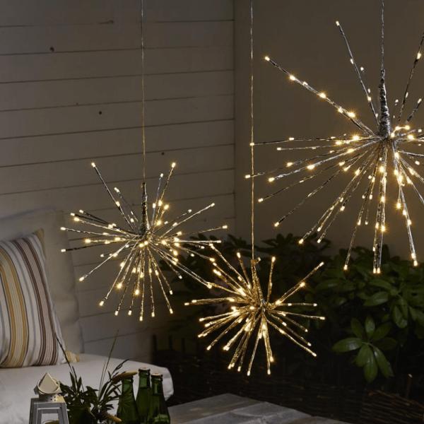 "3D-LED-Hängestern ""Firework"" - D: 60cm - silber mit 120 warmweißen LED - Programme - Outdoor"