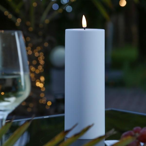 LED Stumpenkerze MIA - Kunststoff - realistische 3D Flamme - H: 20cm - outdoor - pastellblau