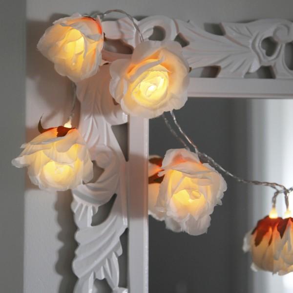 """LED Lichterkette """"Rosen"""" - 8 warmweiße LED - 1,75m - Batteriebetrieb - Timer - weiß"""