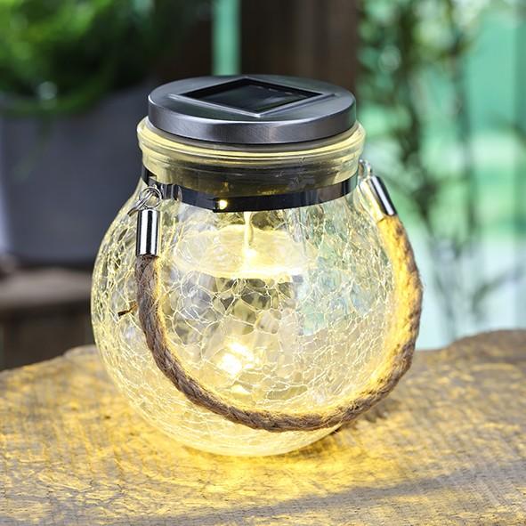 """Solar-Glas """"Sunny"""" mit Farbwechsel und Weiß (12cm Durchmesser, 14cm hoch) Schönes Dekoglas mit Band"""