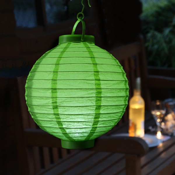 LED Lampion FESTIVAL - kaltweiße LED - D: 20cm - Montagehaken - grün