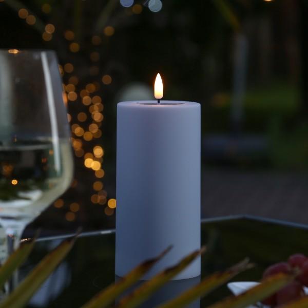 LED Stumpenkerze MIA - Kunststoff - realistische 3D Flamme - H: 15cm - outdoor - pastellrot