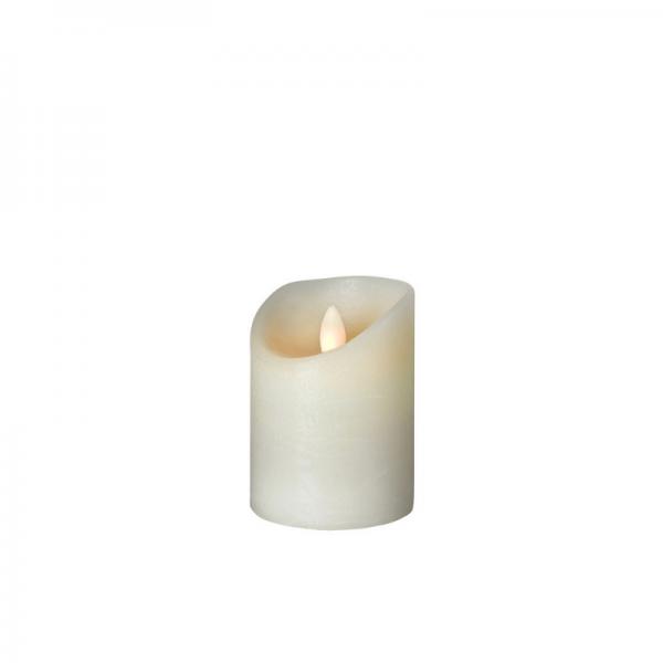 LED Wachskerze SHINE | elfenbein | gefrostet | D: 7,5cm H: 10cm | fernbedienbar | Timer