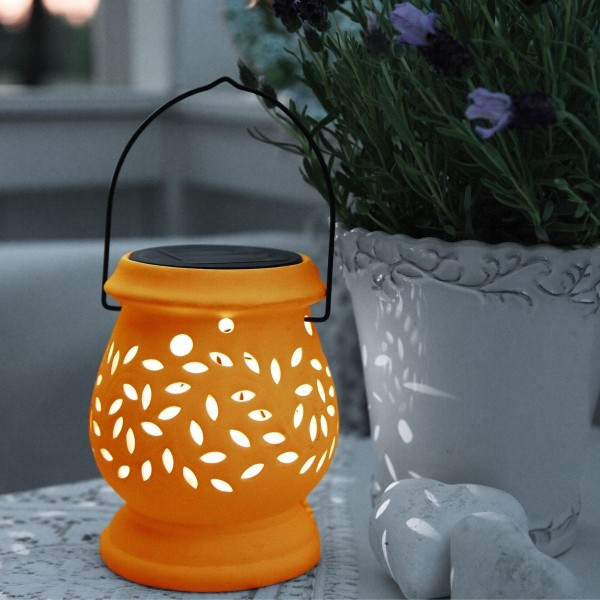 "LED Solar Laterne ""Clay""- kaltweiße LED - H: 14cm - D: 11cm - Dämmerungssensor - Terrakotta"