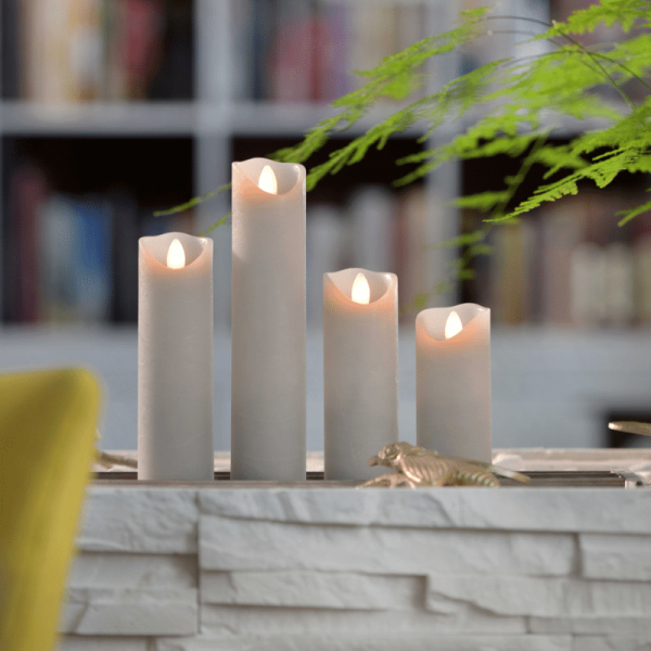LED Wachskerze SHINE schmal | grau | gefrostet | D: 5cm H: 20cm | fernbedienbar | Timer