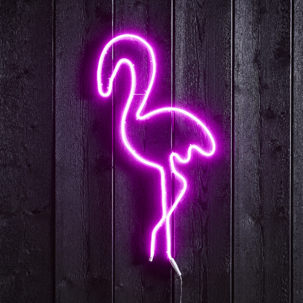 """LED Silhouette """"Flamingo"""" - Flatneon - 230 LED - H. 74cm - outdoor - pink"""